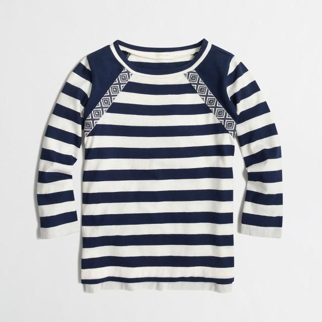 Girls' long-sleeve embellished striped T-shirt