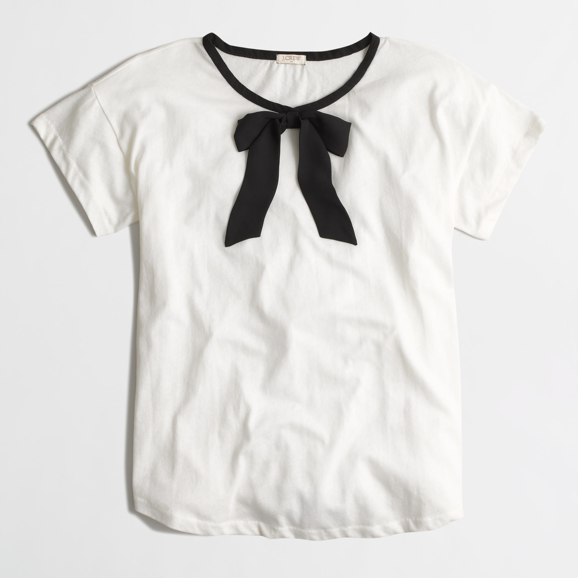 rolled sleeve t shirt with bow factorywomen graphic