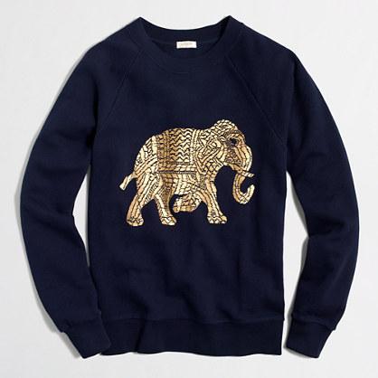 Metallic elephant sweatshirt