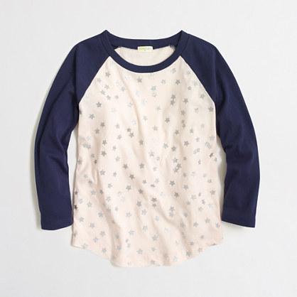 Girls' glitter stars baseball T-shirt