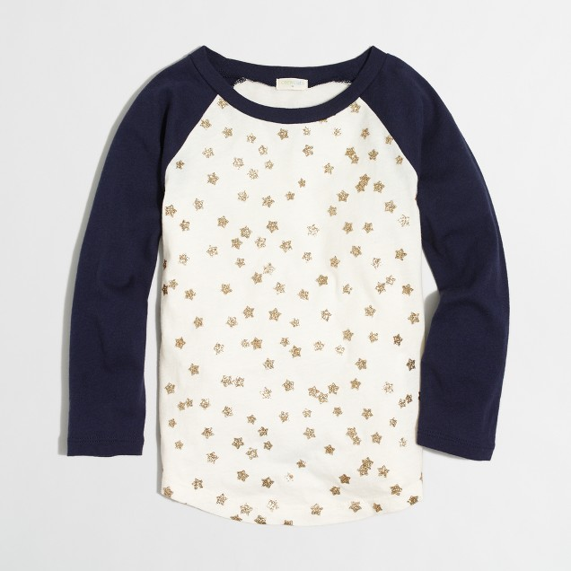Girls' glitter stars baseball T-shirt