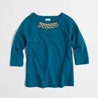 Girls' long-sleeve necklace T-shirt