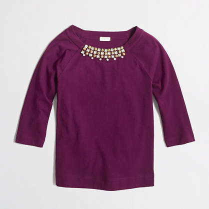 Girls' long-sleeve necklace T-shirt