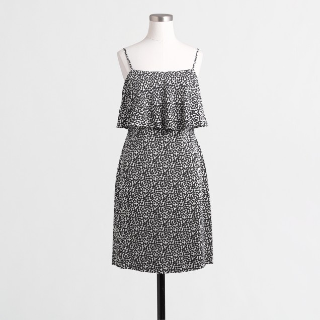 Tiered crepe dress in dot