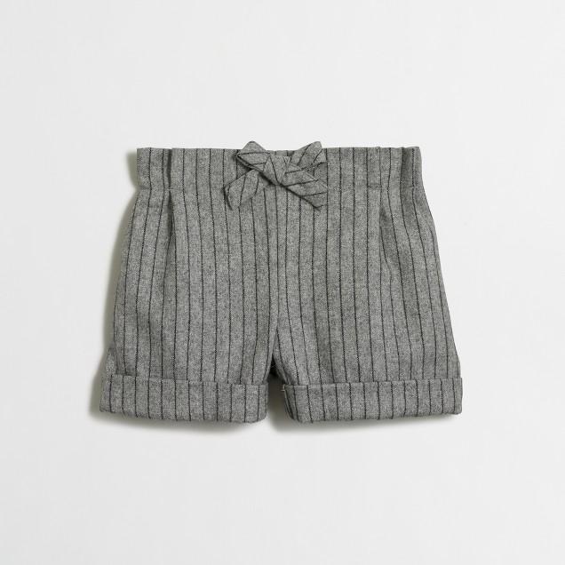 Girls' pinstripe bow short