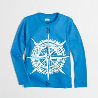 Boys' long-sleeve glow-in-the-dark compass storybook T-shirt
