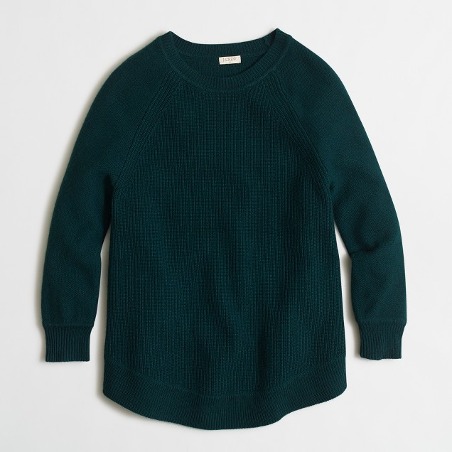 Textured curved-hem sweater