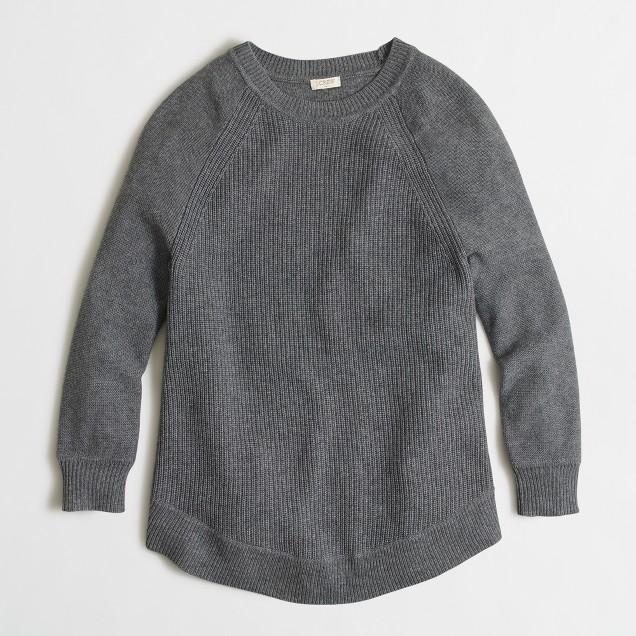 Petite textured curved-hem sweater