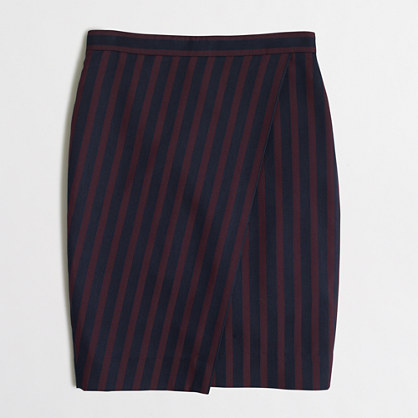 Petite striped wrap pencil skirt