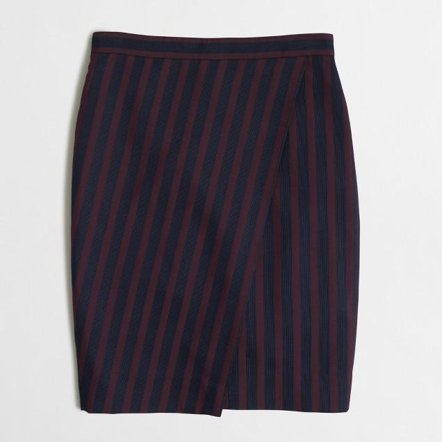 Petite striped wrap pencil skirt