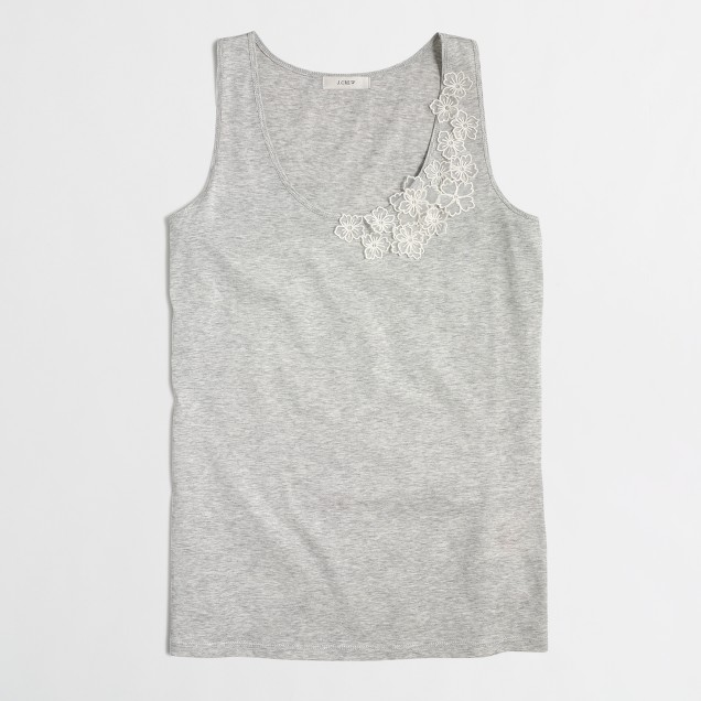 Embroidered flower tank top