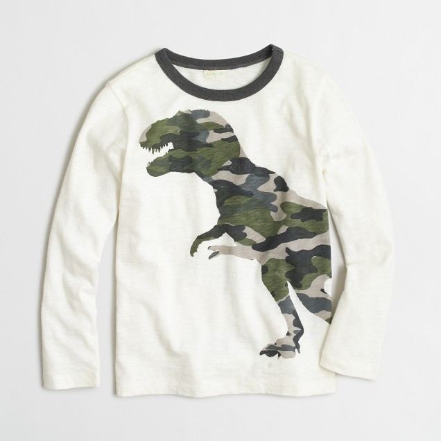 Boys' long-sleeve camo T-rex T-shirt