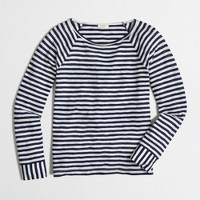 Long-sleeve flip-striped T-shirt