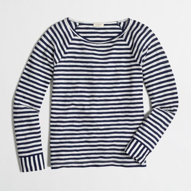 Long-sleeve flip-striped T-shirt