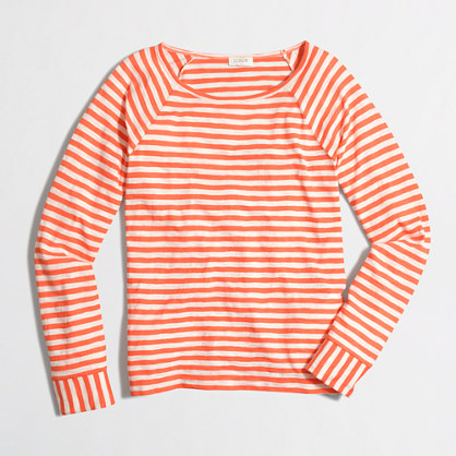 Factory long-sleeve flip-striped tee