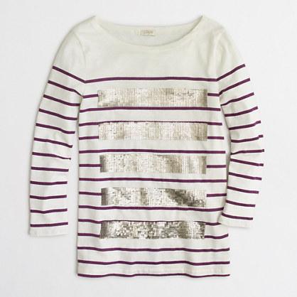 Sequin-striped T-shirt