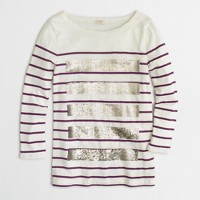 Sequin-striped T-shirt