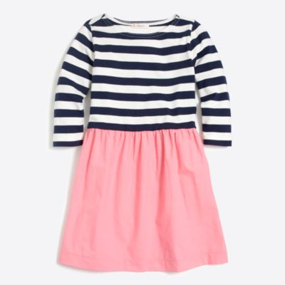 Girls' striped-skirt dress