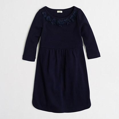 Girls' ruffle-trim shirttail-hem dress