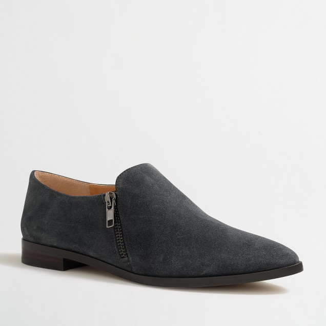 Suede double-zip loafers
