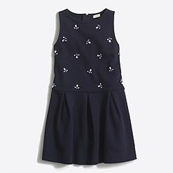 Girls' drop-waist jeweled ponte dress