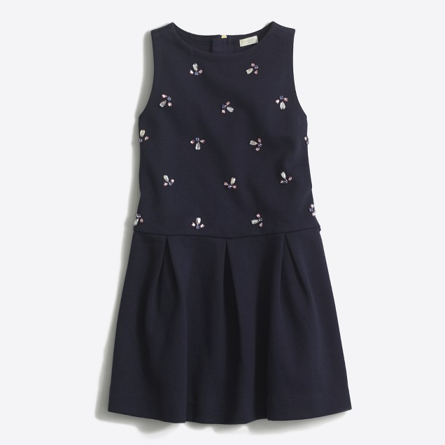 Girls' drop-waist jeweled ponte dress
