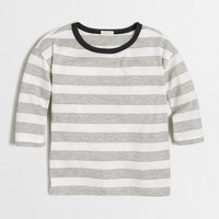 Girls' long-sleeve sparkle-striped T-shirt