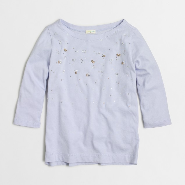 Girls' long-sleeve embellished T-shirt