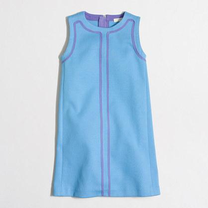 Girls' contrast-trim shift dress