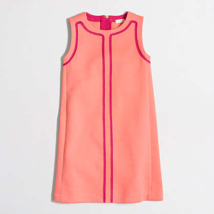 Girls' contrast-trim shift dress