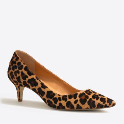 Esme leopard calf hair kitten heels