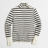 Striped button mockneck sweater