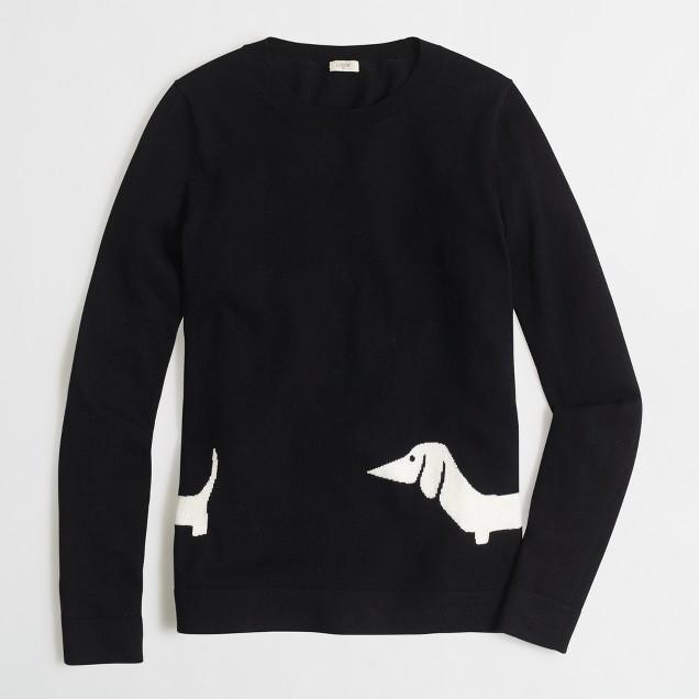 Intarsia wraparound dachshund sweater