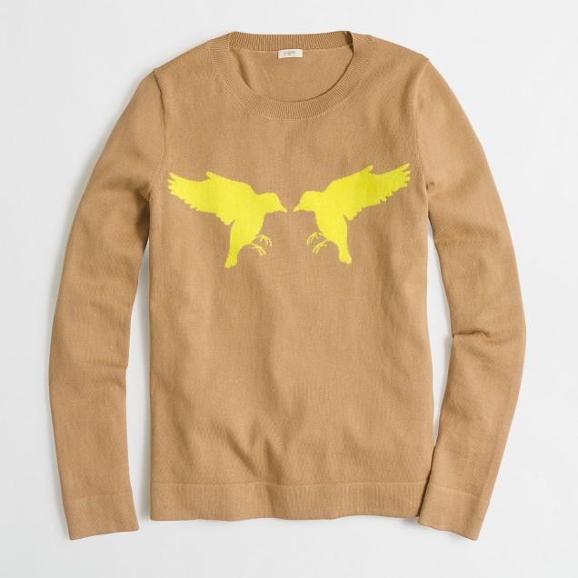 Intarsia kissing birds sweater