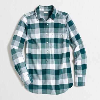 Herringbone check flannel shirt