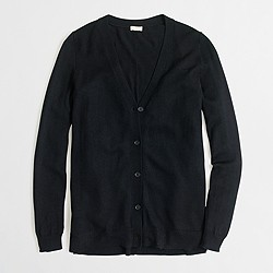Factory long merino V-neck cardigan sweater with buttons