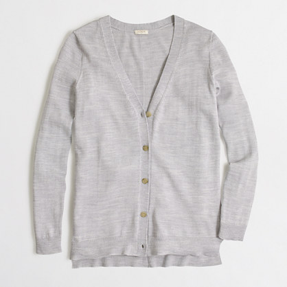 Long merino V-neck cardigan sweater with buttons