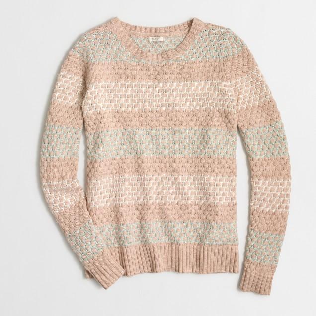Striped honeycomb-stitch sweater