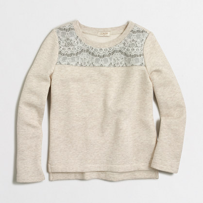 Girls' lace-yoke sweatshirt