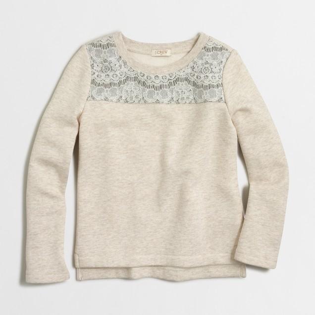 Girls' lace-yoke sweatshirt