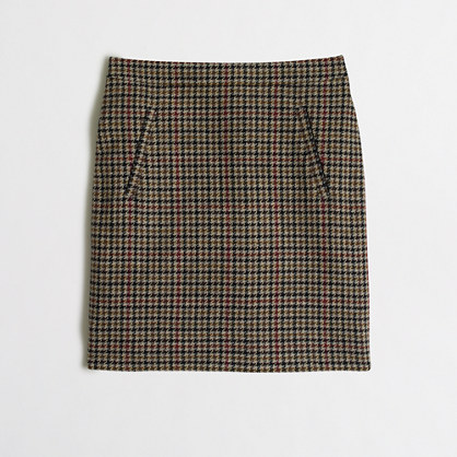 Zip-pocket wool mini skirt in houndstooth : a-line | J.Crew Factory