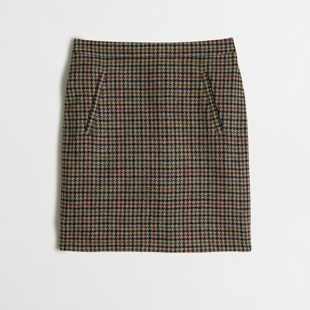 Zip-pocket wool mini skirt in houndstooth