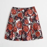Metallic floral jacquard pleated skirt