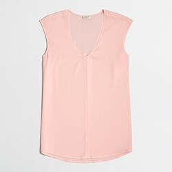 Factory cap-sleeve shirttail blouse