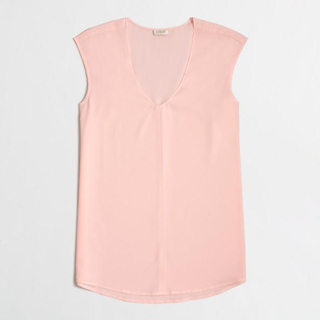 Petite cap-sleeve shirttail blouse