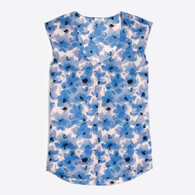 Printed cap-sleeve shirttail blouse factorywomen shirts & tops c