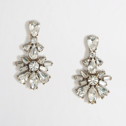 Crystal flower pendant earrings