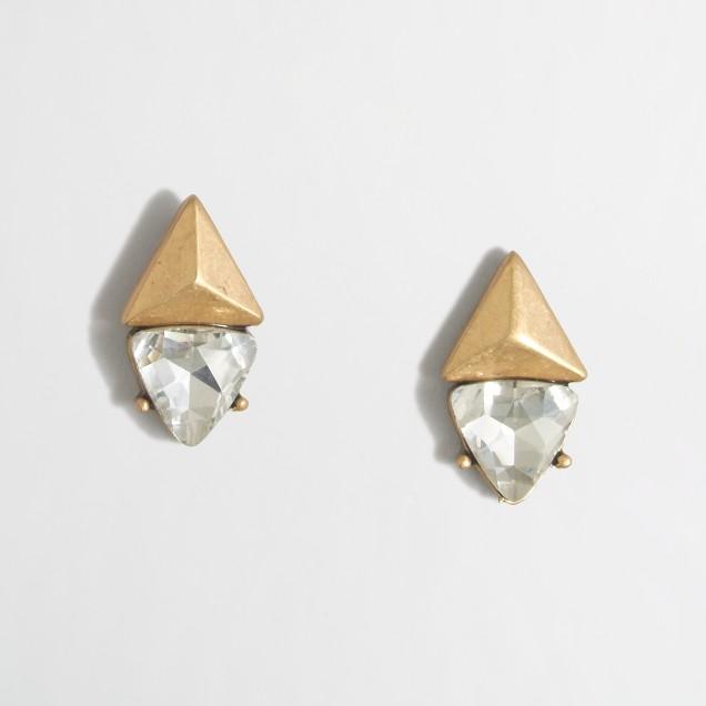 Mixed-media triangle earrings