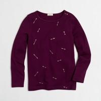 Girls' long-sleeve glitter arrows keepsake T-shirt