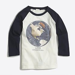 Girls' long-sleeve glitter map keepsake T-shirt